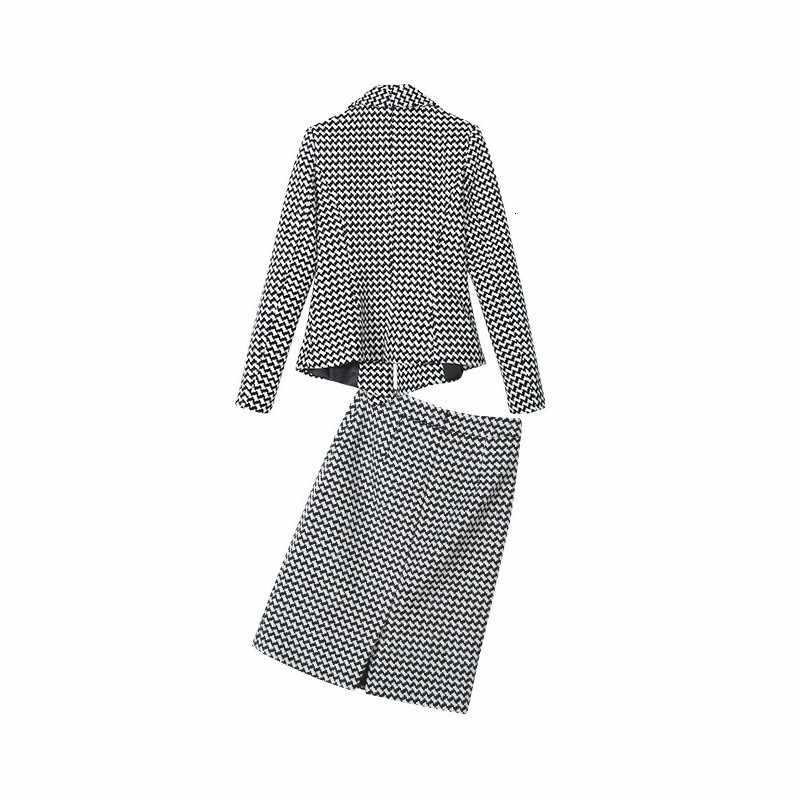 오피스 숙녀 정장 격자 무늬 블레 이저 정장 여성 슬림 피트 a 라인 랩 스커트 옷깃 칼라 자켓 코트 ol work two piece outfits sets