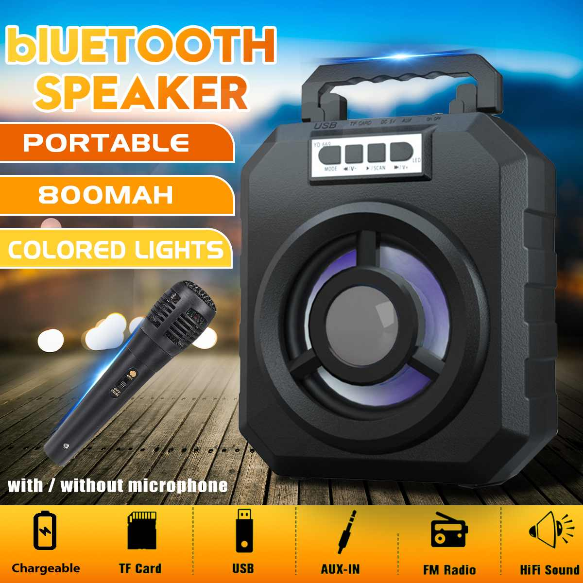bluetooth Speaker Wireless Loudspeaker Sound System For Phone Computer Stereo Music Surround Outdoor Speaker Support AUX FM TF