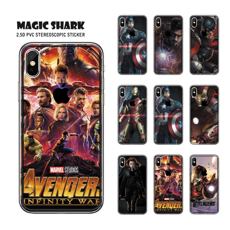 Magic Shark Avengers Marvel American Captain Super Hero Iron Man Skin Sticker Cover Case Film For IPhone XS Max
