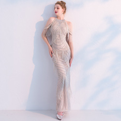 Tassel Mermaid Evening Dresses 2020 New Design Sexy Backless Floor Length Prom Party Gown Real Picture Robe De Soiree ZD1022