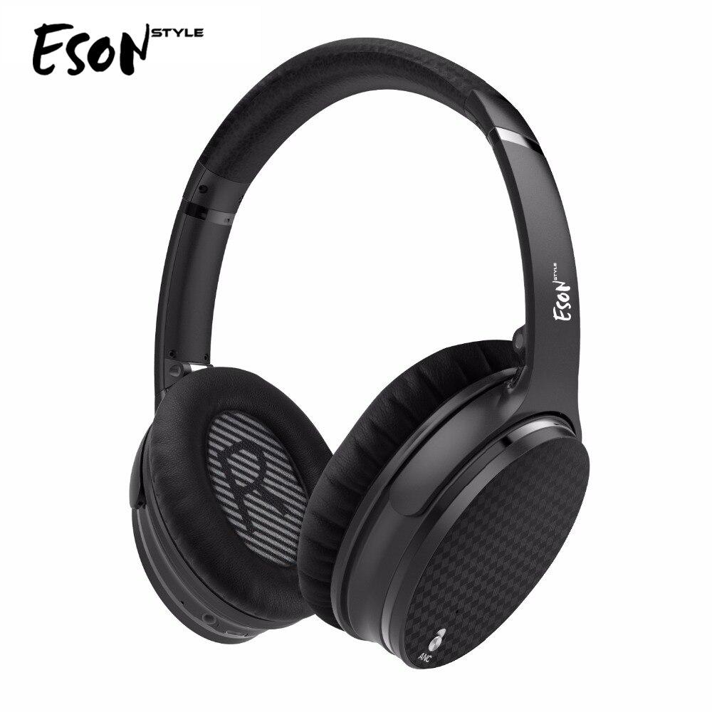 Estilo Eson Heatset Active Noise Cancelling Fones de Ouvido Bluetooth Sem Fio com microfone Para Smartphone-Preto