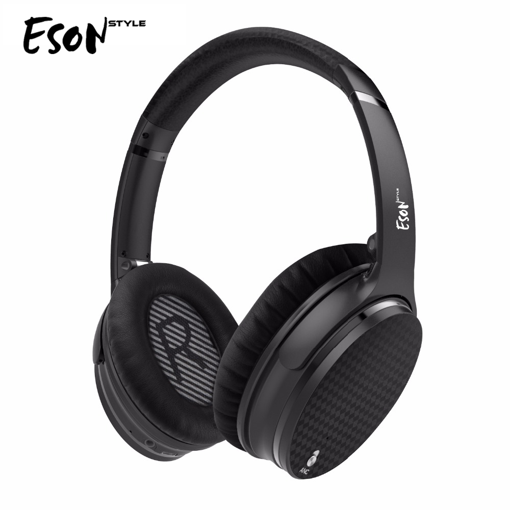 Lobkin Active Noise Cancelling Bluetooth Headphones Wireless Heatset with microphone For Smartphone-Black