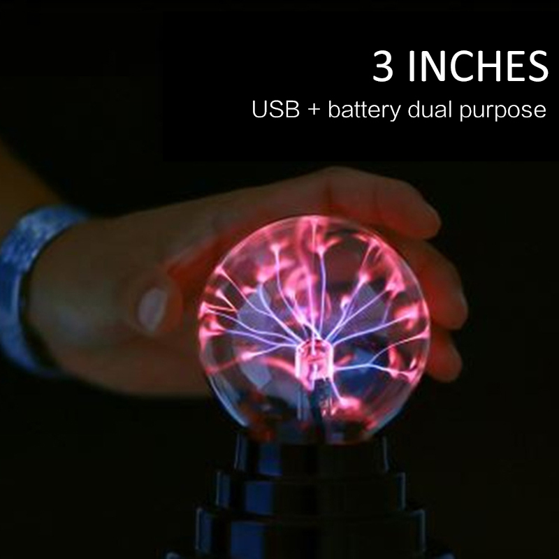 3-inch USB Lightning Electrostatic Ion Magical Crystal Ball Lamp Bedroom Decoration Magic Lightning Ball Light