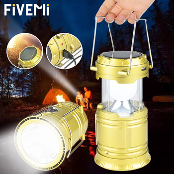 Solar Power Collapsible Lamp Camping Lamp Rechargeable Camping Light Outdoor Tent Light Lantern  Flashlight Emergency Torch 1