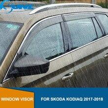 Car styling smoke Side window deflectors  For Skoda KODIAQ 2017 2018  Window Visor Vent Shades Sun Rain Deflector Guard  SUNZ стоимость