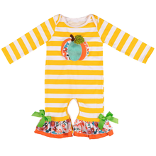 Halloween Costume for Girls Baby Cute Pumpkin & Stripe Print Romper Bodysuit Casual Long Sleeve Romper Baby Halloween Clothes girls sheep print ringer romper