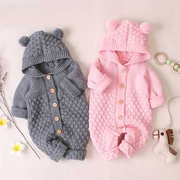 Baby Romper Winter Baby Boys Clothes 2020 Autumn Newborn Clothes Knitted Hooded For Baby Girls Clothes Jumpsuit 0 3 6 9 24 Month new born baby clothes infant newborn baby boys girls cartoon print ear hooded romper jumpsuit outfits baby winter clothes 9 12