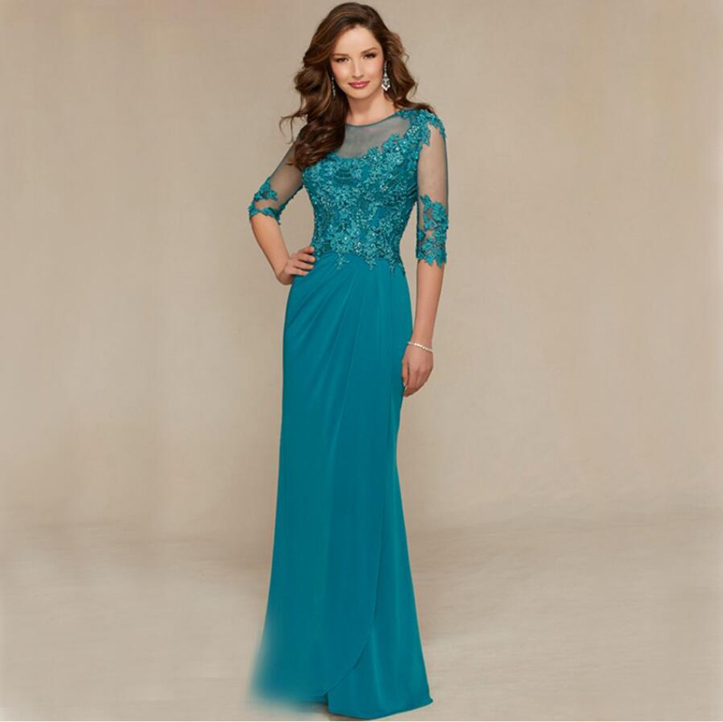 2020 Mother Of The Bride Dress Long Lace Beaded For Weddings Half Sleeves Groom Godmother Dresses Party Formal Dresses Plus Size