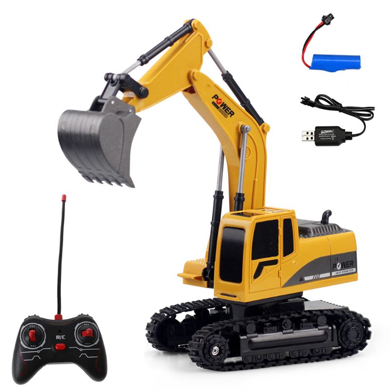 RC Truck 2.4G 1:24 Remote Control Excavator Vehicle 6 Channels Charging Model Toys LED Light Simulation Sound