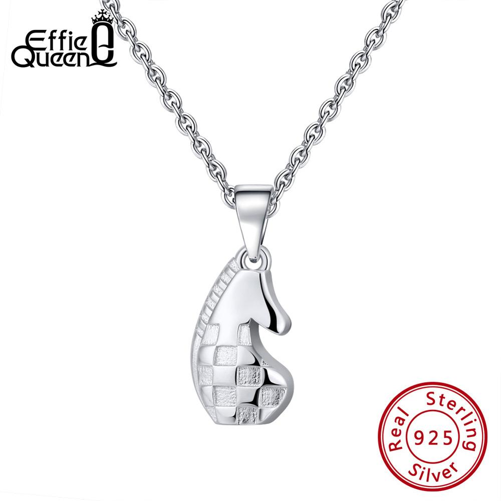 Effie Queen 925 Sterling Silver Women Pendants Necklaces Smooth Knight Chess Original Female Jewelry Accessories TSN132