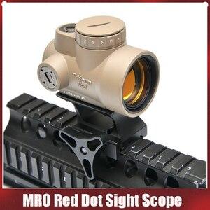 Mira telescópica táctica trijicon estilo MRO 1x punto rojo con alta y baja picatinny riel de montaje base para caza