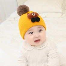 Autumn Winter Warm Baby Hat with Scarf Cotton Toddler Infant Kids Caps Boys Girls Hats Set 0-48M Wool Knit