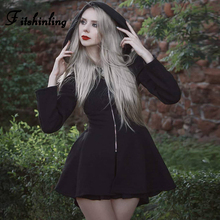 Fitshinling Goth Dark Autumn Dress Women Harajuku Fashion Punk A Line Dresses Ladies Zipper Up Vintage Black Hooded Vestidos New