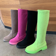 Fashion Knee High Boots Women Green Pink 2019 New Suede Winter Slip On Platform Rubber Brown Black