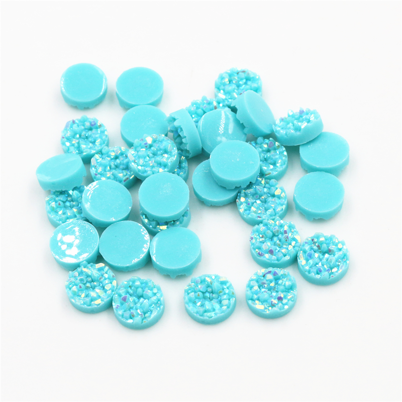 New Fashion 8mm 10mm 40pcs Light Blue AB Colors Natural Ore Style Flat Back Resin Cabochons For Bracelet Earrings Accessories