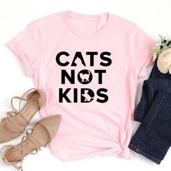 Cats Not Kids Letter Print T-shirt Women Fashion Mom Life Trendy Tshirt Girl Aesthetic Streetwear Shirts Cotton Tops Drop Ship