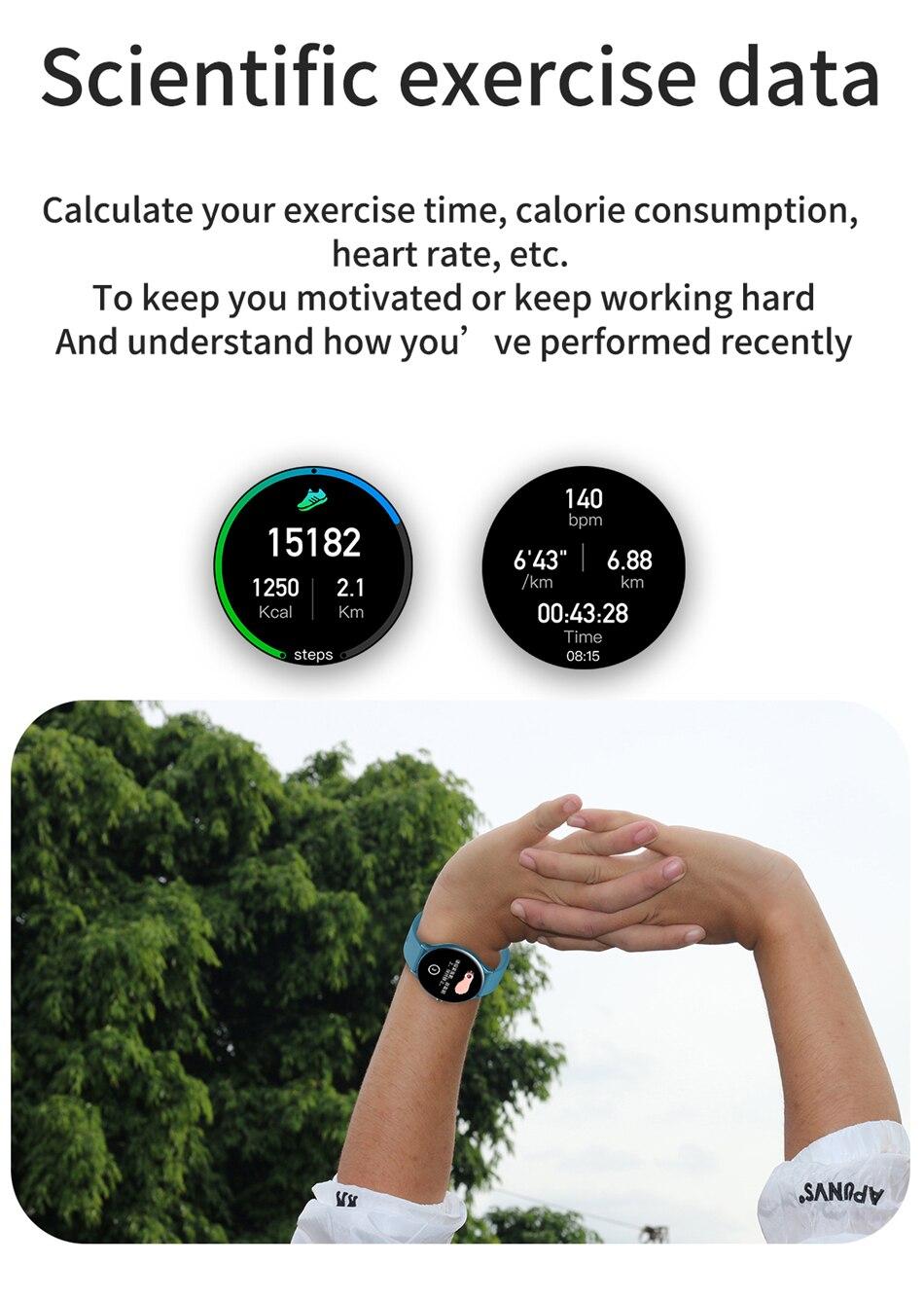 H4bab8e8d2d814792acc9ee3b26eafd93u 2021 New Full circle touch screen Women smart watch Luxury steel Watch Band Fashion smartwatch Sport Activity tracker For Xiaomi