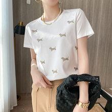 T-shirt manches courtes femme, estival et amincissant, en coton mercerisé, avec chiot incrusté de strass, 2021