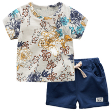 BINIDUCKLING New 2020 Summer Boys Kids Clothes Set Flower Printed Pure Cotton T-shirt+pants Suit For Children