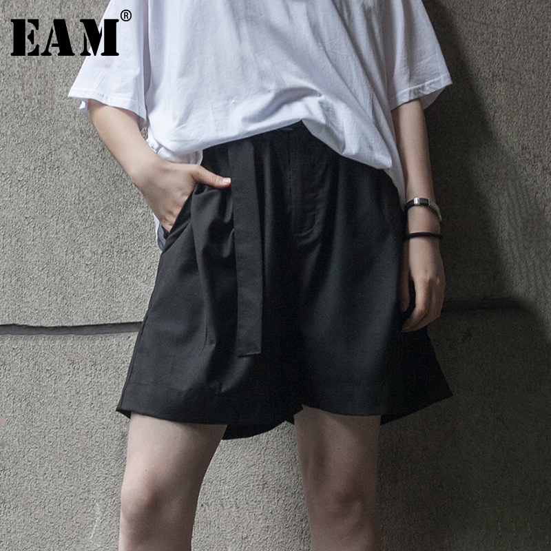 [EAM] Women Big Size Pocket Wide Leg Shorts New High Waist Loose Fit Trousers Fashion Tide All-match Spring Autumn 2019 1A736