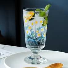 Goblet Dessert Glass Flowers Milk-Water-Cup Household Creative Breakfast-Cup Hand-Painted