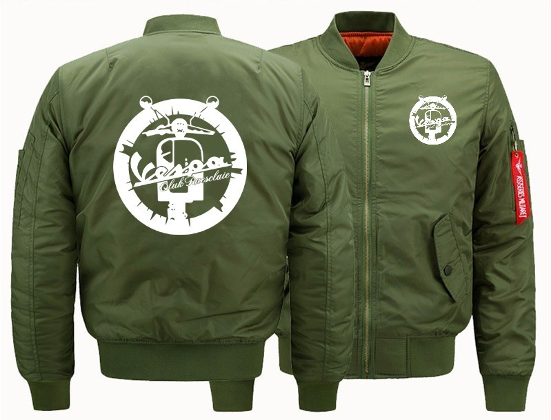 Vespa Vintage Motorcycle Bomber Flight Flying Jacket Winter Thicken Warm Zipper Men Jackets Anime Men's Casual Coat SIZE:S-5XL
