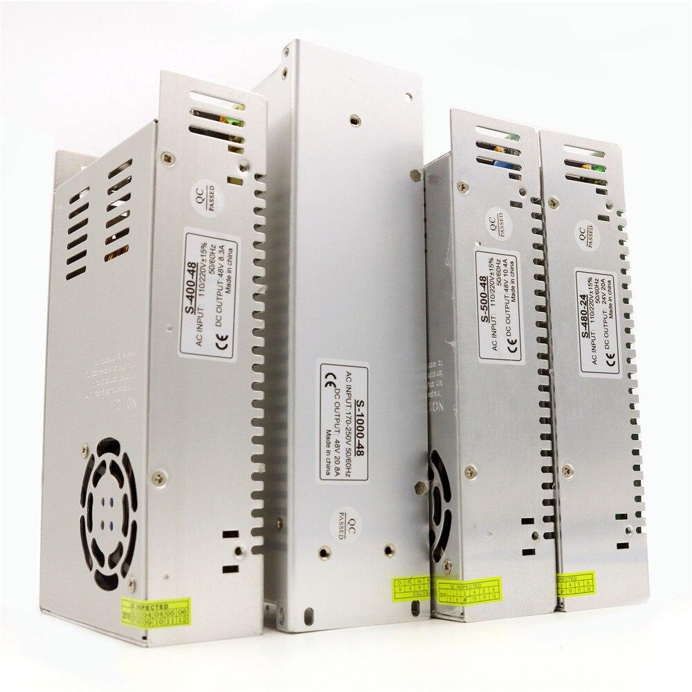 Dc 24v 480w 48v 400w 500w 1000w 8a 10a 20a tension constante adaptateur d'alimentation pour Led bande lumière Cctv moteur pas à pas