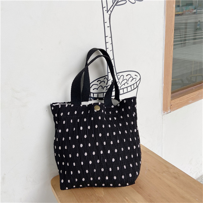Portable Mini Fresh Cloth Bag Female Wrinkle Printed Handbag Insulated Thermal Cooler Bento Lunch Box Tote  Tote Picnic Storage