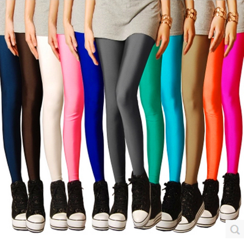 New Spring Leggins Solid Candy Neon High Stretched Female Legging Pants Girl Clothing Leggings For Women Plug Size Ankle-Length