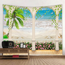 Ocean landscape digital printing tapestry background hanging fabric factory direct sales can be customized