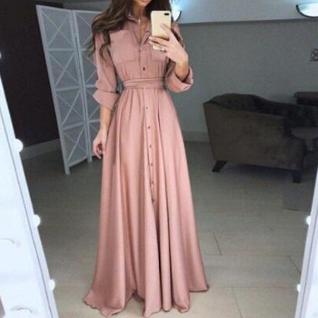 Women Long Dress Autumn Slim Long Elegant Sleeve Button High Waist Lace UpLong T Shirt Skirt Urban Leisure Styel Plus Size S-5XL 1
