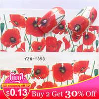 LCJ 1 Sheet Red Flowers Partten Nail Slider Art Water Transfer Sticker Nail Art Decoration Decal Manicure
