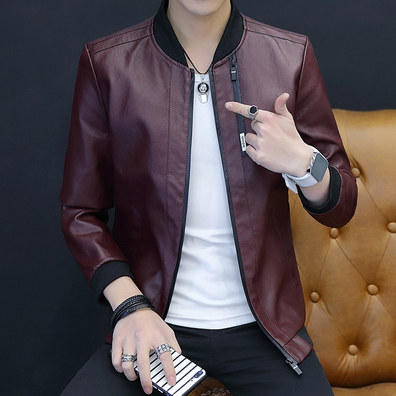 MEN'S Leather Coat 2019 New Style Spring And Autumn Slim Fit Korean-style Handsome Motorcycle Jacket Thin Trend Autumn Leather J