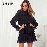 Shein preto frisado laço pescoço plissado guarnição em camadas malha festa mini vestido feminino outono gola mudança senhoras vestidos elegantes