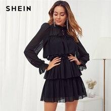 SHEIN สีดำ Frill คอ Tie Ruffle Trim Layered ตาข่ายมินิชุดสตรีฤดูใบไม้ร่วงขาตั้งปลอกคอ SHIFT สุภาพสตรี Elegant Dresses