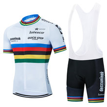 2021 Champion QUICK STEP Cycling Team Jersey Bike Shorts Set Ropa Ciclismo MenS MTB Summer Pro Bicycling Maillot Bottom Clothing