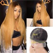 Perruque Lace Front Wig partielle brésilienne Remy naturelle, cheveux lisses, blond miel ombré 1b/27, perruque pour femmes