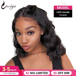 Uwigs Body Wave Bob Lace Front Wig Human Hair Wigs Pre Plucked Medium Length Wig Brazilian Remy 360 Lace Frontal Wig Bob 13x6(China)