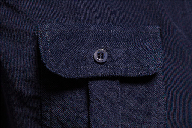 2020 New Single Breasted 100% Cotton Men's Shirt Business Casual Fashion Solid Color Corduroy Men Shirts Autumn Slim Shirt Men 5