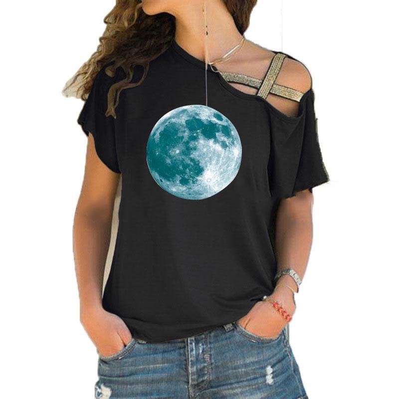 Новинка, супер яркая светящаяся луна, Лунная светящаяся планета, футболка, модные праздничные вечерние женские футболки с неровным перекосом и крестиком, топы