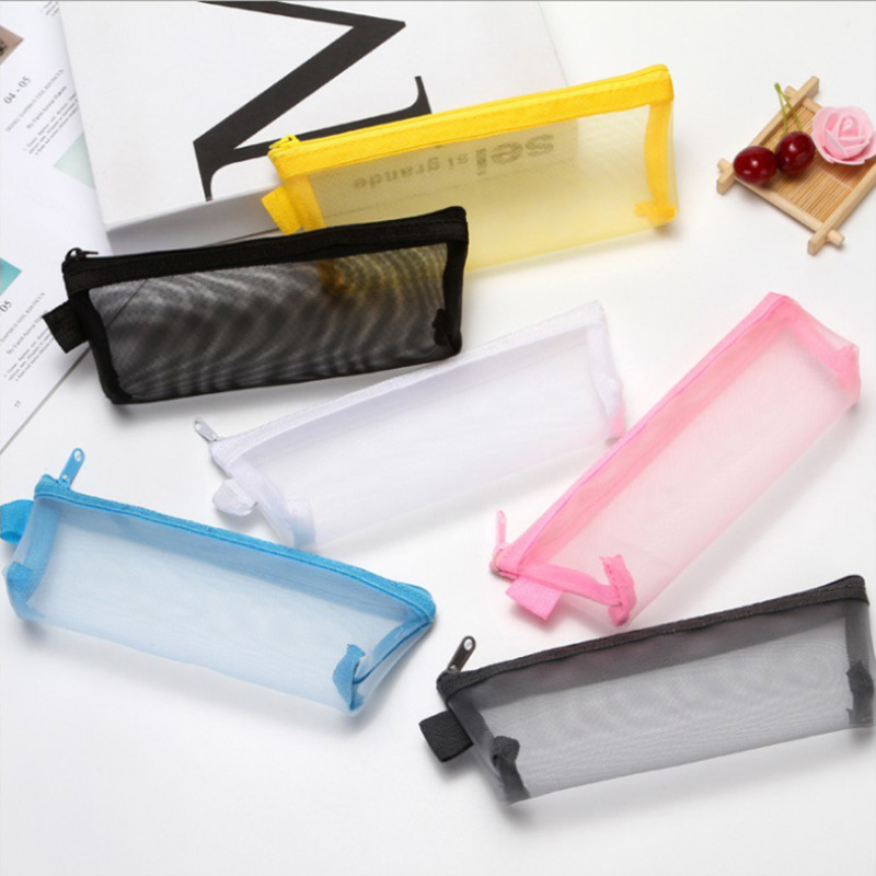 1PC Cute Mesh Pencil Case Kawaii Transparent Pencil Bag High Capacity Pen Case For Kids Gifts School Office Supplies Stationery