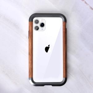 Image 3 - إطار فاخر مقاوم للصدمات من الألومنيوم + الخشب لهاتف أبل آيفون 12 برو ماكس 11 × XS ماكس XR حافظة هاتف صغيرة لحماية السجل المعدني