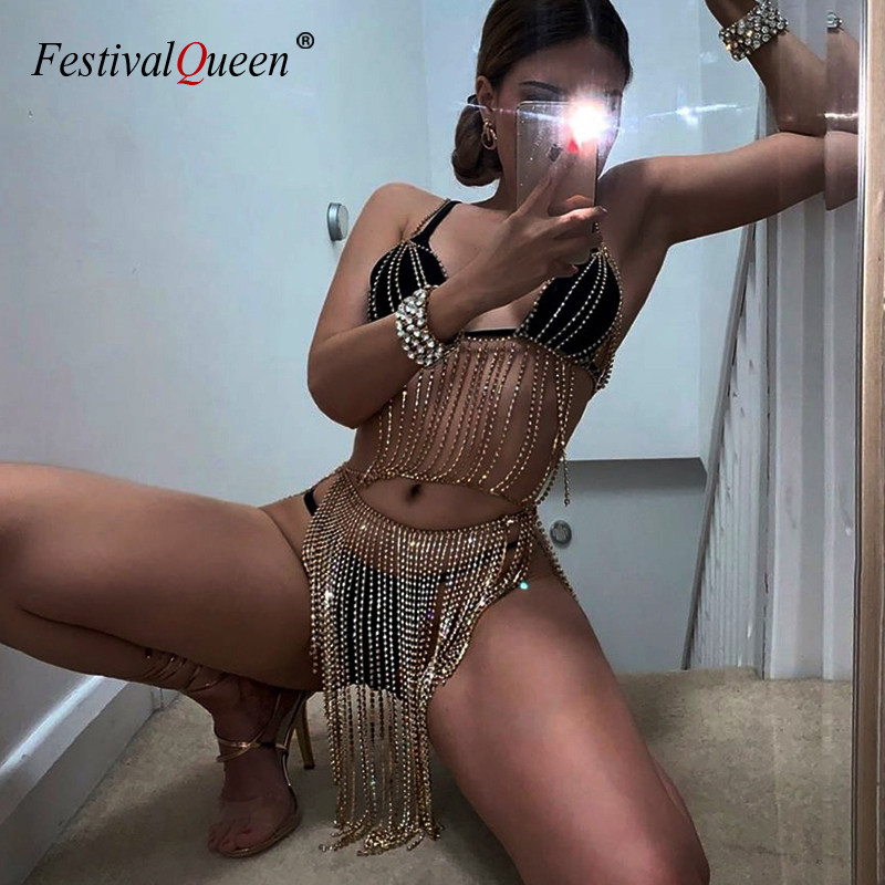 <font><b>FestivalQueen</b></font> <font><b>sexy</b></font> luxury rhinestone metal chain skirt and deep v crop top gold silver backless nightclub 2 pieces women's sets image
