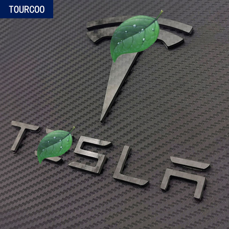 For Tesla Model 3 Real Carbon Fiber Front Rear Emblem Badge Stickers Car Styling Modification Accessories