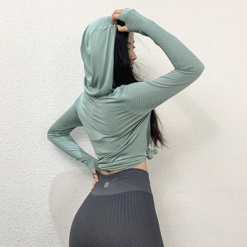 Woman Seamless Yoga Shirts Long Sleeve Hooded Sport Gym Shirt Fitness Tops Sportswear Athletic T-shirts Quick Dry Tracksuit 1