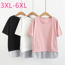 2020 summer Korea plus size tops for women large loose casual short sleeve cotton stripe O neck T-shirt white pink 4XL 5XL 6XL