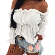 New 2019 Summer Fashion Sexy Off Shoulder Tops Women Long Sleeve Slash Neck Shirts Blusas Female White blusas D30