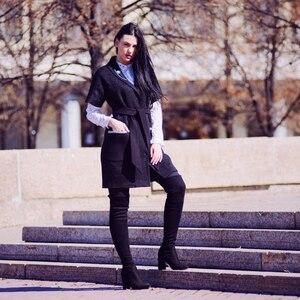 Image 4 - Женские сапоги из флока QUTAA, Черные Сапоги выше колена на высоком каблуке, на шнуровке, зимние сапоги, размеры 34 43, для осени и зимы, 2020