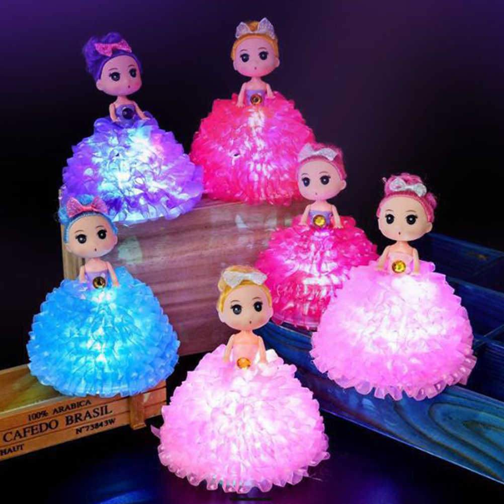 Fashion Princess Light Up Baby Doll 18CM Handmade Classic LED Flashing Cartoon Doll Gift Toys For Girl Birthday Xmas Gifts