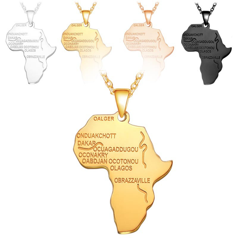 Titanium steel stainless Africa map necklace Personality hip hop letter pendant jewelry factory wholesale
